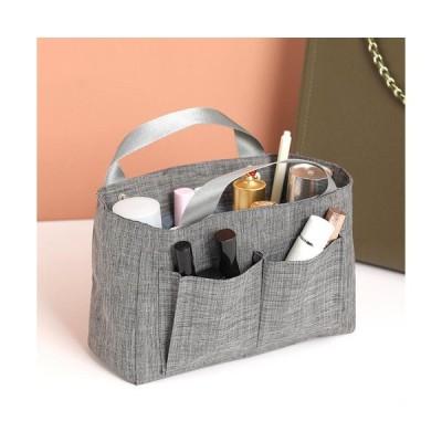 バッグインバッグ 手提げバッグ 整理ポーチ 化粧ポーチ メイクボックス コスメポーチ 多機能 大容量 ポケット 収納 手提げ ミニトート 高品質 自立 ビジネス
