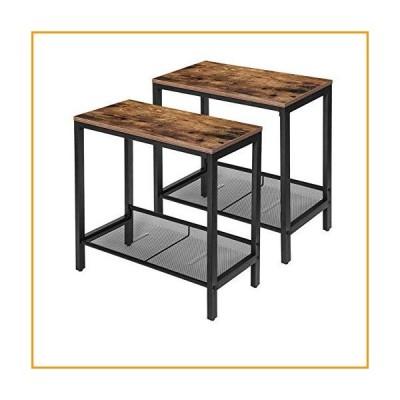 [新品]HOOBRO サイドテーブル 2点セット 細いナイトスタンド 工業用エンドテーブル フラットまたは斜