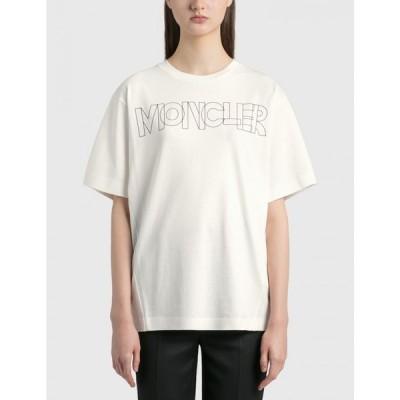 モンクレール Moncler レディース Tシャツ トップス logo t-shirt Ivory White