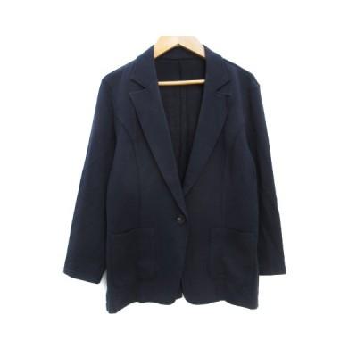 【中古】未使用品 ブルーフォンセ Bleu Fonce ジャケット テーラード ミドル丈 七分袖 シングルボタン 38 紺 ネイビー /FF37 レディース 【ベクトル 古着】