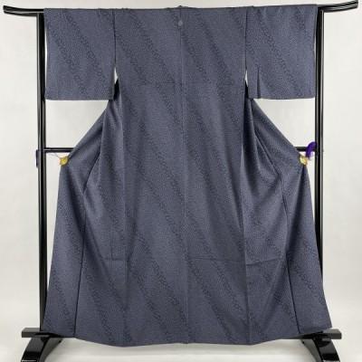 在庫一掃 小紋 美品 秀品 一つ紋 寄せ柄 小花 青紫 袷 身丈162cm 裄丈64cm M 正絹 中古