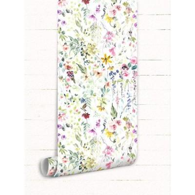Wall Arts はがせる壁紙 壁紙シール 厚手 花のクラスター 柄 壁 シール のり付き DIY 防水 壁紙 (OL0009, 45cm x 5m