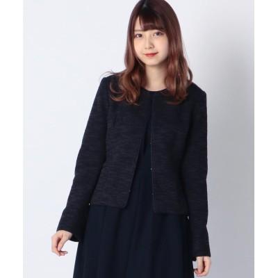【ミューズ リファインド クローズ】 ニットツイードジャケット レディース ネイビー LL MEW'S REFINED CLOTHES