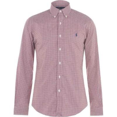 ラルフ ローレン Polo Ralph Lauren メンズ シャツ スリム トップス Polo Slim Poplin Shirt Burgundy/White
