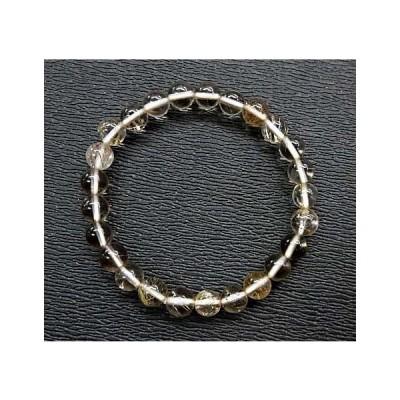 天然石  水晶(ルチル入り)6.5mm玉ブレスレット 内周:約16.6cm