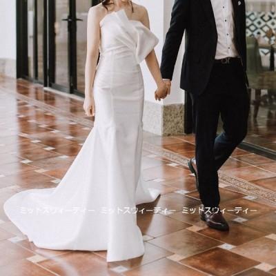 ウェディングドレス ロングドレス マーメイドライン トレーン 結婚式 ウエディングドレス 二次会 花嫁 前撮り エレガント サテン ホワイト シンプル 写真撮影