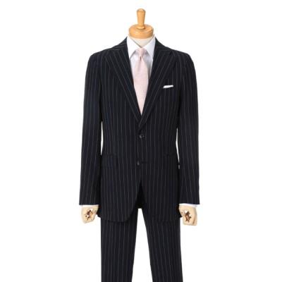 [紳士スーツスペシャル]ドールオム 涼しげな印象を与えるサッカー生地。太めのストライプがカジュアルな印象です 1656601-B ネイビー HM1