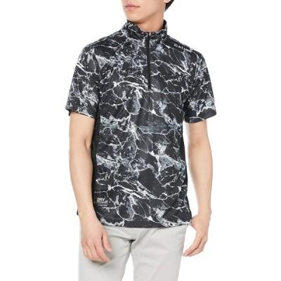 [カジメイク] 冷却テクノロジー 冷感プリント半袖ZIPシャツ MSブラック XXL