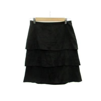 【中古】アンタイトル UNTITLED スカート ティアード ひざ丈 スエード調 2 ブラック 黒 /MS23 レディース 【ベクトル 古着】