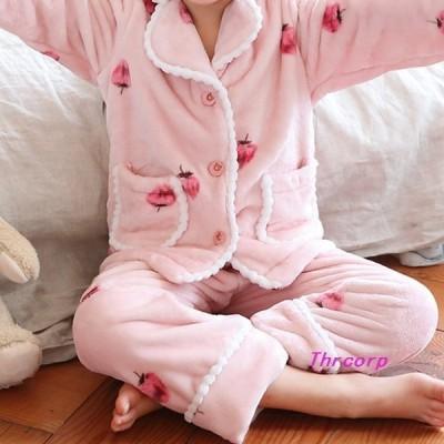 韓国ファッションキッズ小学生パジャマルームウエアおうちイチゴ柄かわいいおしゃれ女子8539