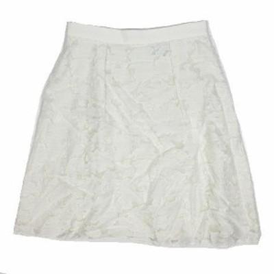 【中古】未使用品 アンタイトル UNTITLED レース スカート フレア ひざ丈 ジャガード 1 白 ホワイト ◎12 レディース