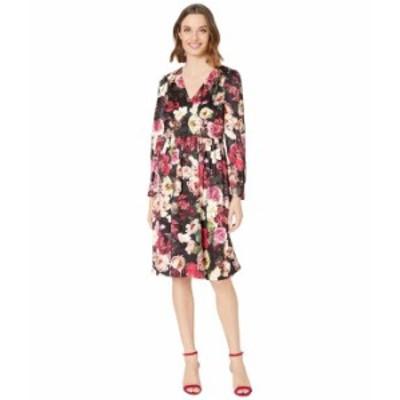 カルバンクライン レディース ワンピース トップス Long Sleeve Floral Print A-Line Dress Black Multi