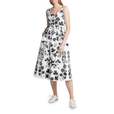 オスカー デ ラ レンタ レディース ワンピース トップス Flower Cotton Poplin Sleeveless Midi Dress