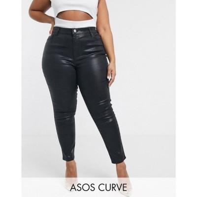 エイソス ASOS Curve レディース ジーンズ・デニム ボトムス・パンツ ASOS DESIGN Curve Ridley high waisted skinny jeans in coated black ブラック