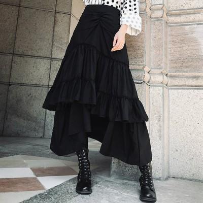 個性的スカート モード系ファッション 不規則 ミモレ丈 イベント オフ会 コスプレ ステージ衣装 10代 20代 30代 40代 50代
