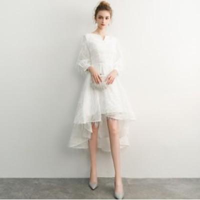 不規則裾 長袖 パーティドレス トレーン スタイリッシュ フォマール フェミニン 演奏会 結婚式 お呼ばれドレス 発表会 ファスナー