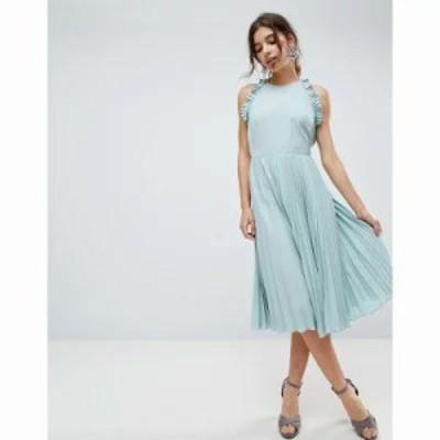 エイソス ワンピース Pleated Midi Dress With Ruffle Open Back Mint green