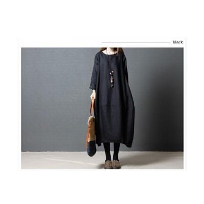 (RM STORE/アールエムストア)七分丈袖 ロングワンピース ゆったりサイズ Uネック チューニック/レディース ブラック
