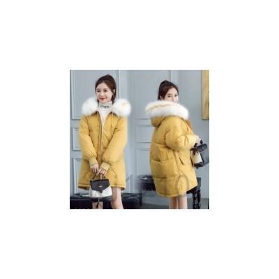 レディースダウンコートダウンジャケット暖かいロング丈ファーふわふわフード付きアウターコート無地防寒通学通勤カジュアル