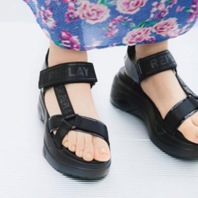 バッグ 靴 アクセサリー パンプス サンダル REPLAY/リプレイ ロゴ入り スポーツサンダル 249303