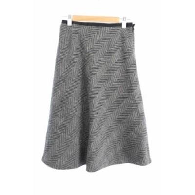 【中古】アンタイトル UNTITLED スカート フレア ひざ丈 総柄 ウール 1 黒 ブラック グレー /YS28 レディース