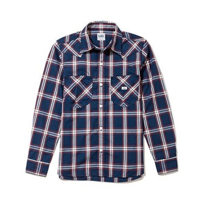Lee(リー) メンズ ウエスタンチェック長袖シャツ LCS46006-28 ネイビー×ホワイト XL