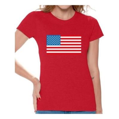 レディース 衣類 トップス Awkward Styles Women's American Flag Graphic T-shirt Tops USA Flag Patriotic Tシャツ