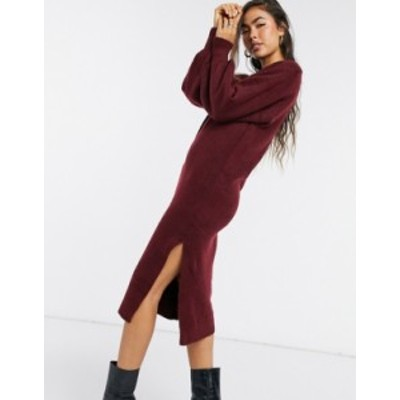 エイソス レディース ワンピース トップス ASOS DESIGN crew neck midi dress with volume sleeve Dark red