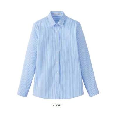 BONMAX レディスストライプ調温長袖シャツ 5〜17号 /ストライプ/フォーマル/温度調節機能素材