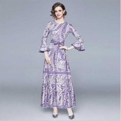 予約商品 大きいサイズ レディース 結婚式 二次会 花柄プリント ロング ドレス ワンピースオーバーサイズ 韓国ファッション ビッグサイズ
