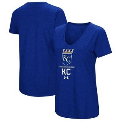 アンダーアーマー レディース Tシャツ トップス Kansas City Royals Under Armour Women's Team Lock-Up Performance Tri-Blend V-Neck T