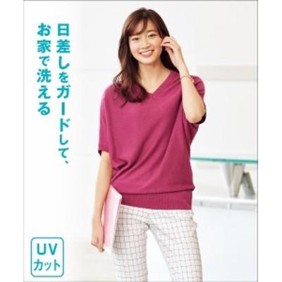 セーター ニット 大きいサイズ レディース 洗濯機 洗える UVカット 綿混 ドルマン トップス ネイビー/ピンク/杢グレー 5L~6L相当 ニッセ