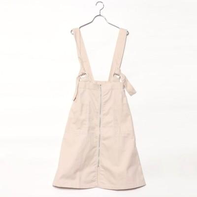 スタイルブロック STYLEBLOCK 綿ツイルサスペンダー付きフロントジップスカート (ベビーピンク)