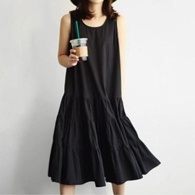 LAZA  (Lサイズ) 黒 ノースリーブ ティアード ワンピース フレア Aライン 春夏 フェミニン