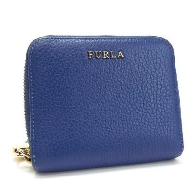 フルラ 二つ折り ラウンドファスナー財布 ハートチャーム フリンジ付き ブルー 中古 ABランク FURLA  女性用 レディース ウォレット