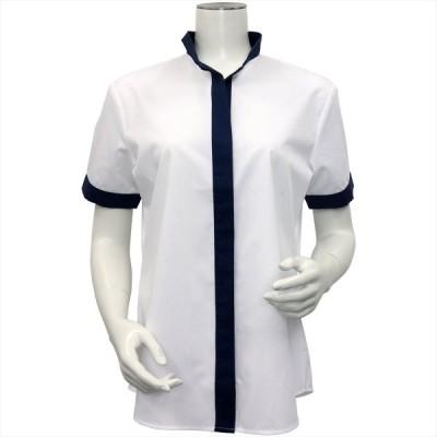 レディース ウィメンズシャツ 半袖 形態安定 デザインシャツ イタリアンカラー  白×ダイヤチェック織柄