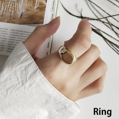 指輪 オープニングリング レディース 女性 アクセサリー かわいい おしゃれ シンプル スクエア ゴールドカラー シルバー925 フリーサイズ 調節可