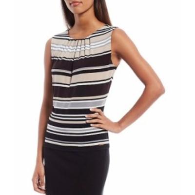 カルバンクライン レディース Tシャツ トップス Placement Stripe Print Matte Jersey Pleat Neck Sleeveless Top Khaki Multi