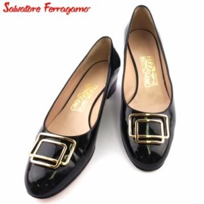 サルヴァトーレ フェラガモ パンプス シューズ 靴 レディース ♯6C ラウンドトゥ ロゴプレート ブラック ゴールド Salvatore Ferragamo