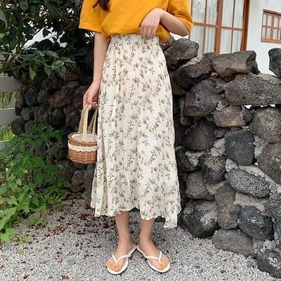 大人女子の味方花柄 ウエストゴム入りしわ加工ロングスカート(mskt1237)