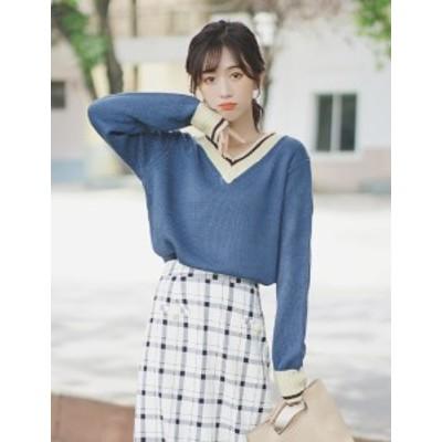 韓国 ファッション レディース トップス 秋冬 長袖 無地 ニット セーター ブルー おしゃれ オーバーサイズ カジュアル シンプル ゆったり