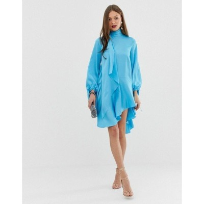 エイソス レディース ワンピース トップス ASOS DESIGN satin midi dress with scarf neck and with extreme sleeve Blue