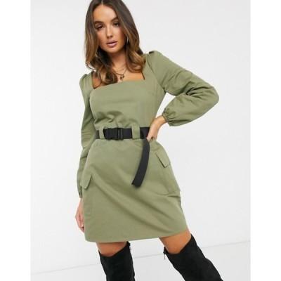 ミスガイデッド レディース ワンピース トップス Missguided belted utility dress with long sleeves in khaki