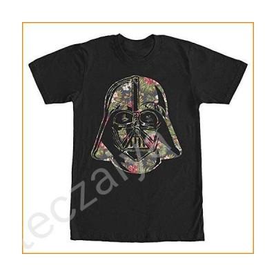STAR WARS Men's Vader Tropical Floral Print T-Shirt, Black, Medium並行輸入品