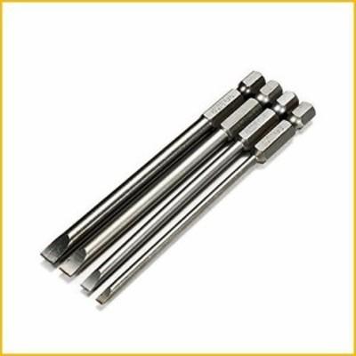 【☆送料無料☆新品・未使用品☆】Toolcool 4pcs 100mm 3mm 4mm 5mm 6mm Magnetic Flat Head Slotted Tip Screwdrivers Bits Set 1/4