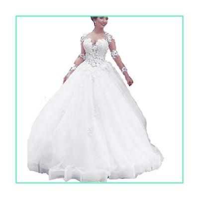 HDSLP Women's Ball Gown Wedding Dress Long Lace Wedding Gown for Bride Ivory 20w並行輸入品