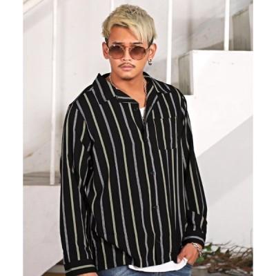シャツ ブラウス 長袖ストライプオープンカラーシャツ