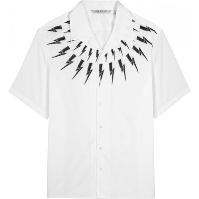 ニール バレット Neil Barrett メンズ シャツ トップス white printed cotton shirt White