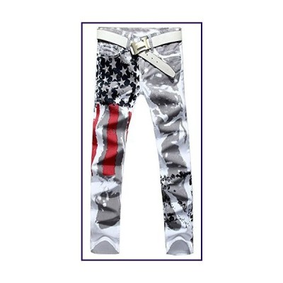 Allonly Men's Fashion Casual Slim Fit Straight Leg Painted Letters Printed Jeans Pants【並行輸入品】