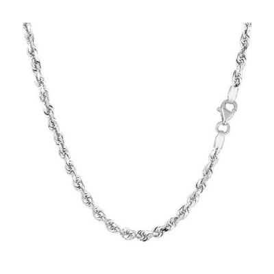 14k White Solid Gold Diamond Cut Rope Chain Necklace, 3mm, 20""